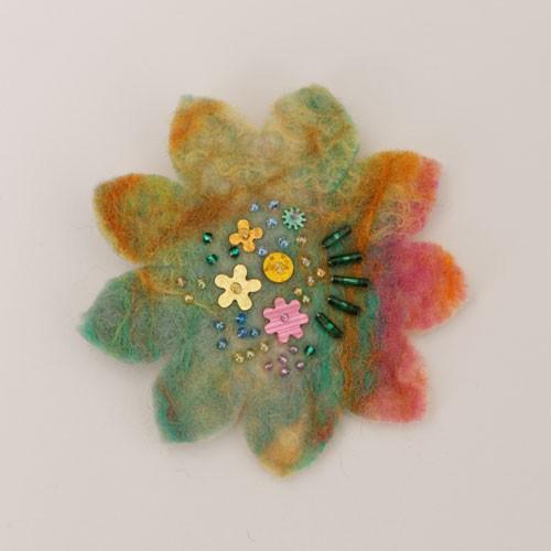 Handmade Green Felt Flower Brooch